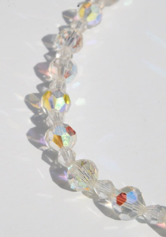 Vintage Necklace, Aurora Borealis Clear Crystal Choker, Bridal Accessory, Wedding Prom Jewelry
