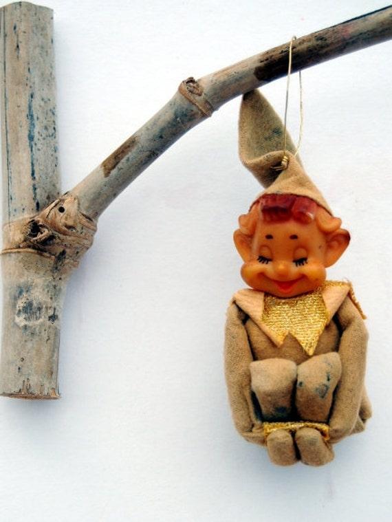 Vintage Pixie Elf Christmas Ornament Antique Holiday