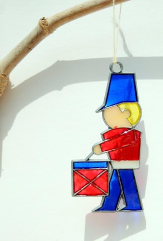 Vintage Little Drummer Boy Christmas Leaded Stain Glass Ornament, Holiday Decor, Suncatcher