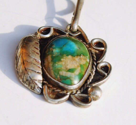 Vintage Native American Sterling SIlver Turquoise Pendant