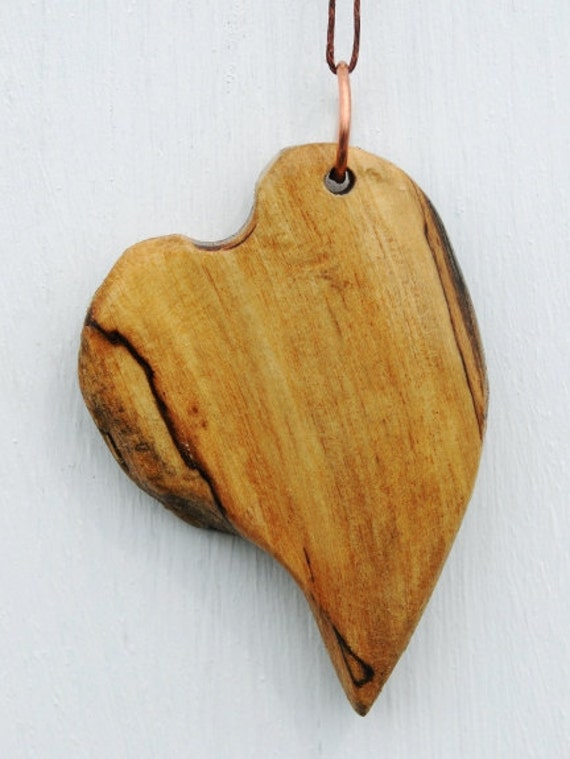 Driftwood Heart Pendant with Copper Ring and Brown Slip Knot Necklace