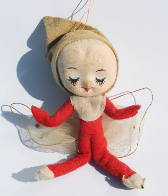Red Pixie Elf Christmas Ornament, Antique Holiday Decoration, Vintage Christmas Elves