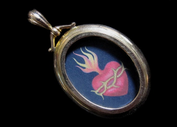 Flaming Heart Miniature Painting (ex voto) in Antique Gold Locket