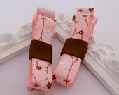 Pair of Pale Pink - Chocolate Brown - Cherry Blossom - Satin Ribbon - Tuxedo Bow - No Slip Hair Clips