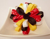 Mickey Mouse - Disney- Red Yellow Black and Polka Dot Ribbon- Layered Loopy Flower Hair Clip