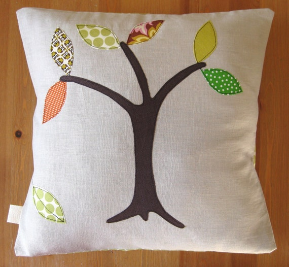 "Tree cushion cover, Autumn / Fall leaves, Amy Butler Lotus cotton and Linen, 16""/40cm"