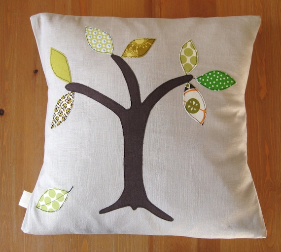 """Cushion cover, tree with green leaves, Amy Butler Lotus spot cotton and linen, 16""""/40cm"""
