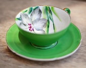 Vintage Tea Cup - Wales China - Hand Painted in Japan - Green with Flower Teacup & Saucer