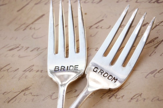 BRIDE and GROOM Set of Upcycled Vintage Silverware Forks hand stamped