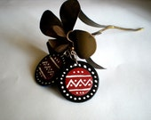 Round Tribal-inspired Black and red painted wood earrings