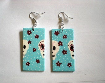 Day of the Dead turquoise painted wood earrings