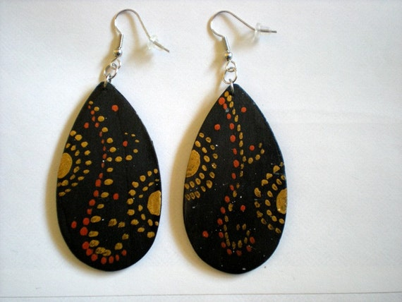 Hand painted with gold and copper circle design wood earrings