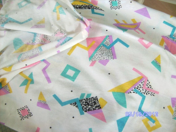 80's Geometric Pattern Jersey Cotton Fabric  yellow blue pink purple black