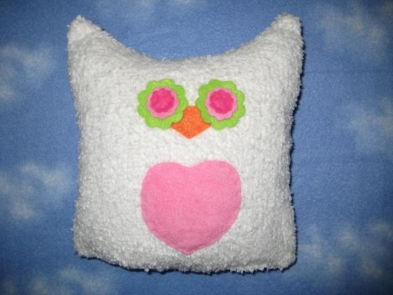 White Chenille Owl with Pink Heart/ Owl Plush/ Owl Pillow/ Owl Decor