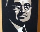 President Harry Truman Cut-Paper Portrait Illustration