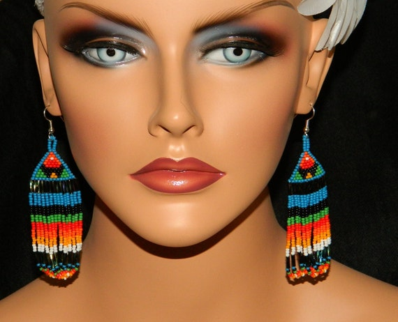 """NEW  Native American """"PowWow Dancer"""" Loop Beaded Earrings"""