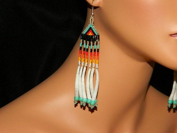 "NEW Native American ""Kootenai"" Dentalium Shell Turquoise Dangle Earrings"
