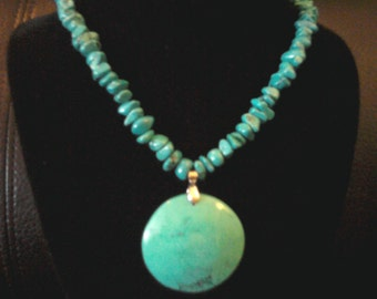 Beautiful Turquoise with Round Turquoise Pendant Necklace