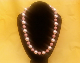 Baby Pink Faux Pearl with pink Ceramic Necklace