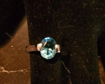 Solitare Blue Topaz White Gold Ring
