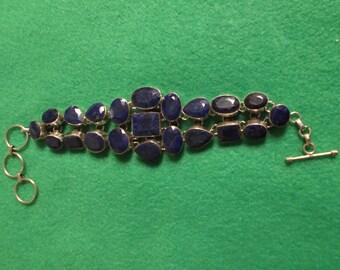 Beautiful Blue Sapphire Silver Sterling Bracelet
