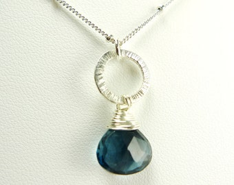 London Blue Topaz Sterling Silver Necklace - Gift for Bridal, Wedding, December Birthday, Aniversary