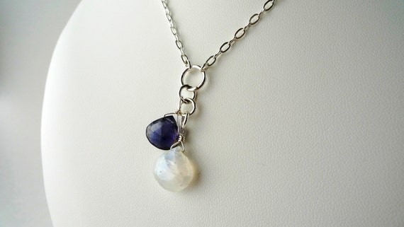 Purplish-blue Iolite and Rainbow Moonstone Sterling Silver Necklace