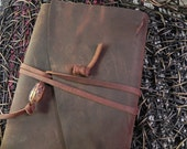 Chocolate Brown Handmade Leather Book Cover with Glass Pendant