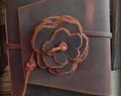 Southwestern Chocolate Brown Leather Journal, Hand bound w/ Rose (Made to order)