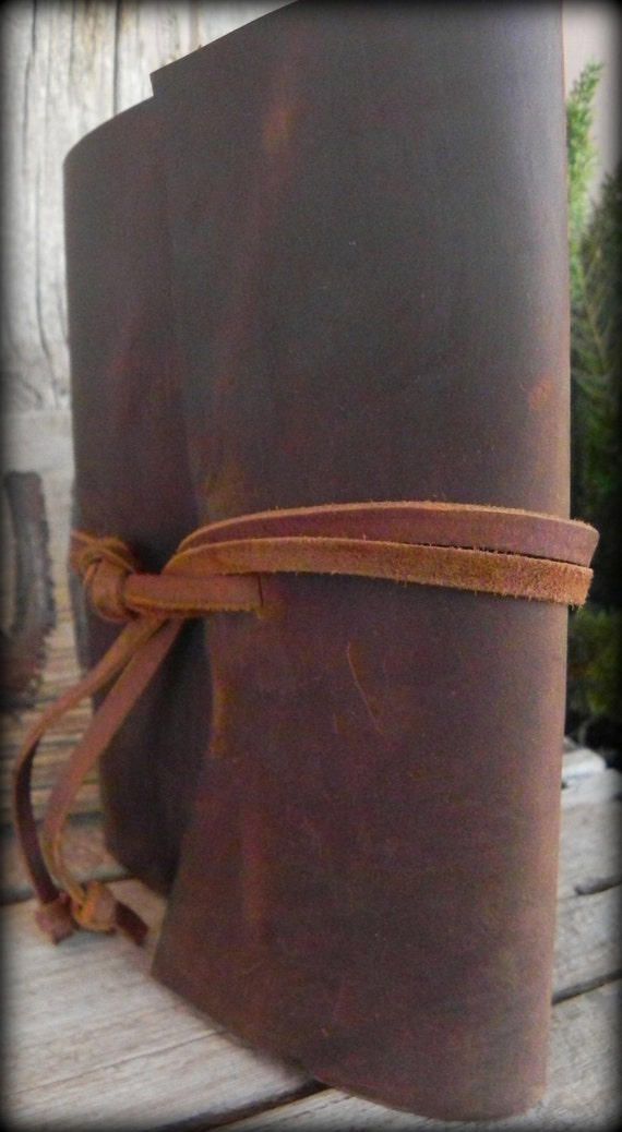 Rugged Western Chocolate Brown Handmade Leather Book Cover