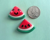 4 Small Watermelon Kawaii Polymer Clay Charm with or without eyepin