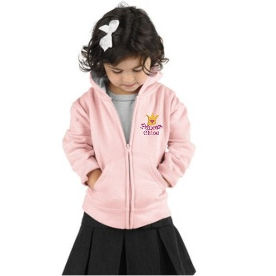 Princess Crown Embroidered Full Zip Hoodie for Toddler Girl Personalized with a Name