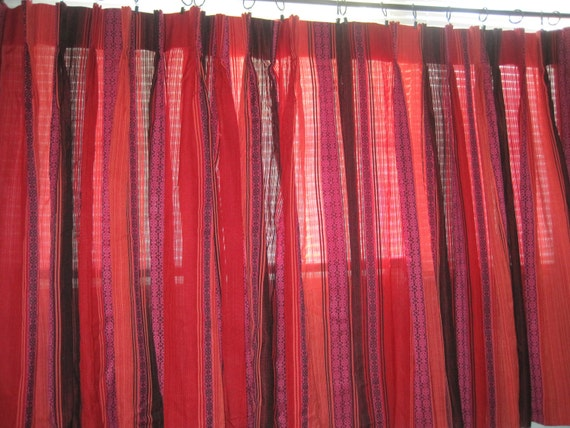 Vintage Kitchen Curtains Red Black Pink And Purple 60s 70s