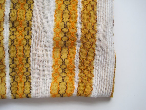Vintage Curtain Material- Totally 70s open weave panel