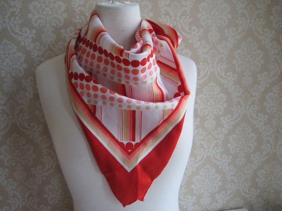 Vintage Scarf--Ruby Red, Lime Green, Perfect Peach Polka Dots and Stripes