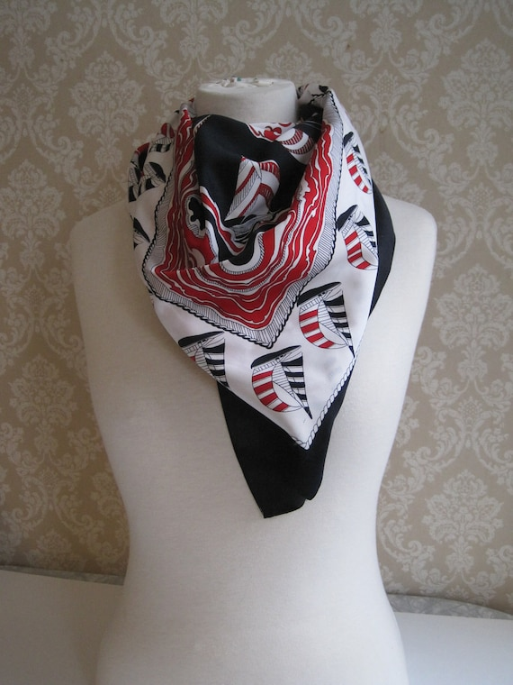 Vintage Scarf- Nautical Theme-Black Red White Sailboats