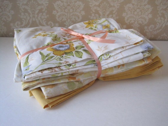 Vintage Pillow Cases Set--Yummy Yellow and Floral--Set of Six