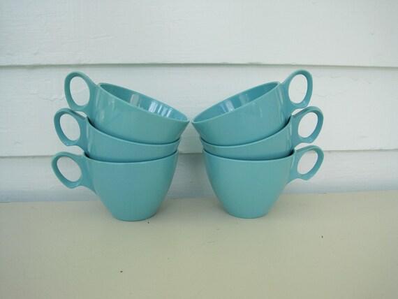 Vintage Blue Melamine Mugs--Set of Six--Great Vintage Condition  Aqua Lagoon Dorchester Melmac
