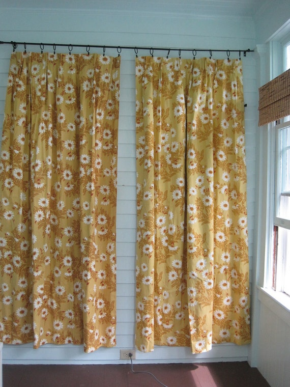 Vintage Yellow Curtains-Pair-White Daisies Pair of Two Panels Fantastic Vintage Great Condition 38x84