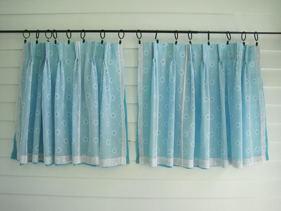 Vintage Blue Curtains, Sixties Aqua Blue Short Cafe Curtains with White Lace Overlay 30 x 26 each