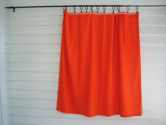 Vintage Orange Curtain, Single Panel Short Cafe Curtain, Mesh Overlay 44 inches by 42 inches