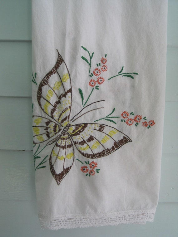 Vintage Embroidered Tablecloth, Brown and Yellow Butterfly Detail, Cutter Piece, Upcycle, Recycle Linens Vintage Fabric and Stitching