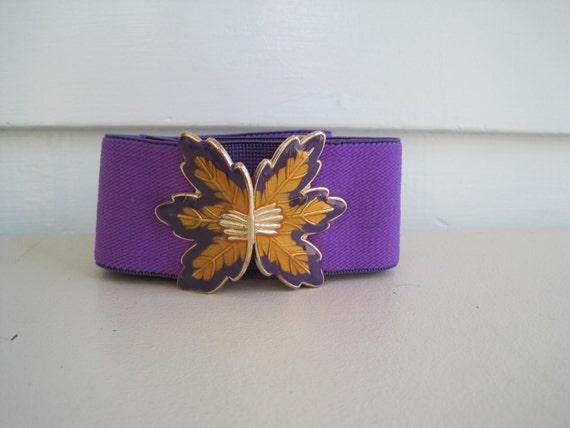 Vintage Stretch Belt, Purple and Gold Cinch Belt with Enamel Leaf Buckle