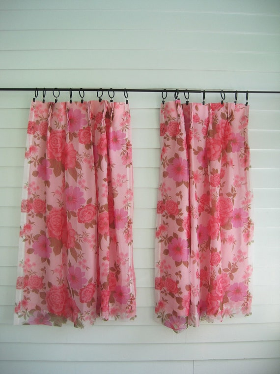 Vintage Pink Curtains Pair--Pretty Feminine Cabbage Roses--Shabby Chic, Girly, Lovely 25 x 44