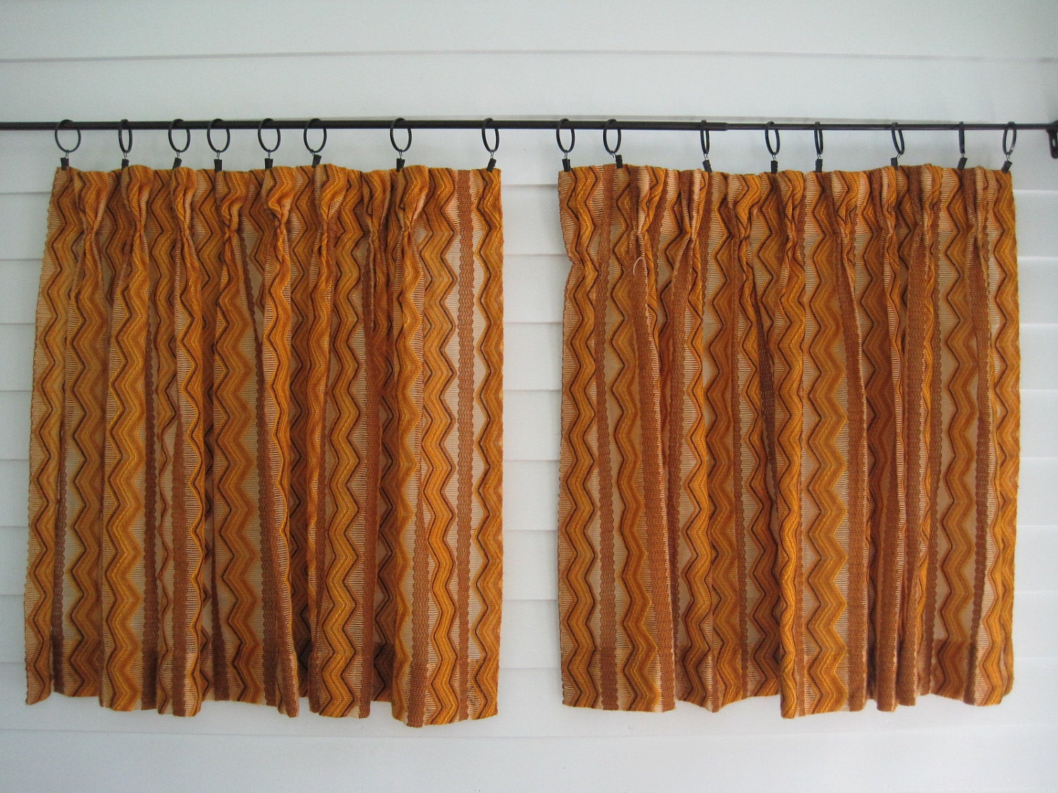 Vintage Yellow Curtains Pair Yellow And Brown Chevron Zig