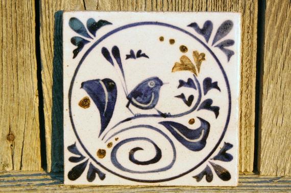 Blue Bird Painted Tile, Coaster, Trivet