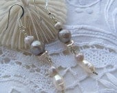 Pale lavender grey, powder pink and ivory dangle earrings