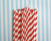 25 Apple Red Striped Paper Straws