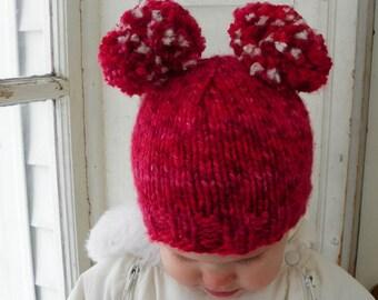Valentines kids hat red and white raspberry pom pom photo prop