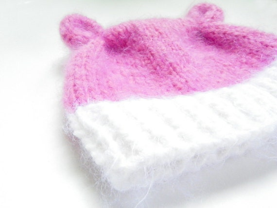 Baby Bear Baby Hat in pink newborn to 6 months handmade pink and white